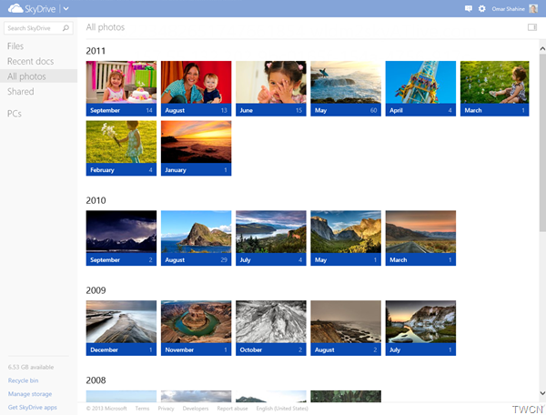SkyDrive-timeline-month-view