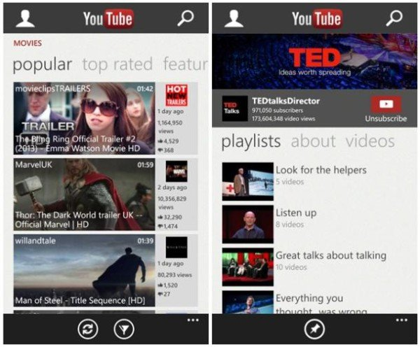YouTube WP8