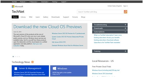 TechNet homepage