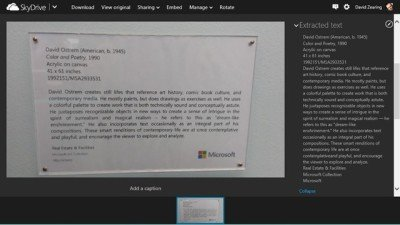 SkyDrive now lets you extract texts from image files