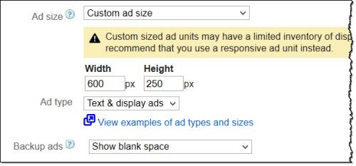 Google AdSense Custom Ad Sizes