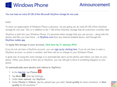 Windows Phone extra 20GB