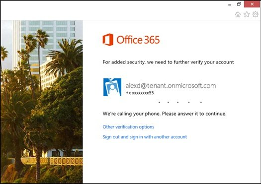 Multi-factor login for Office 365