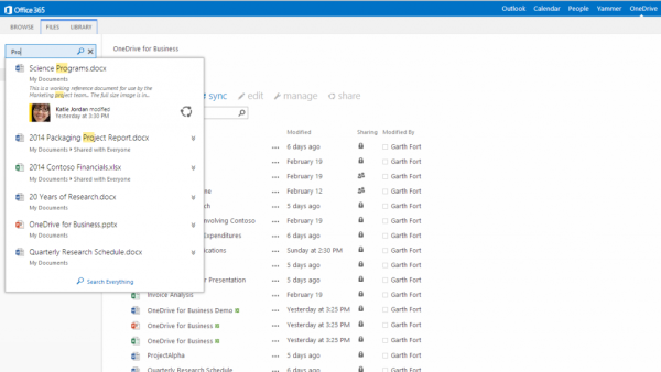 onedrive for business smarter search