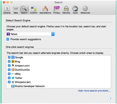 Search interface in Firefox
