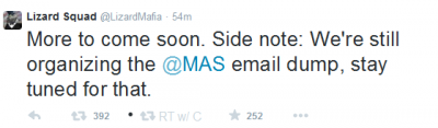 Lizard Squad threatens Malaysian Airlines.