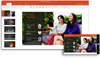 Windows 10 Powerpoint for PC and Mobile