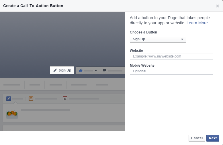 buttons for Facebook Page
