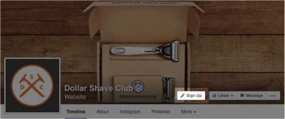 Call to action button in Facebook page
