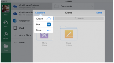 Cloud Storage Integration with iOS office apps