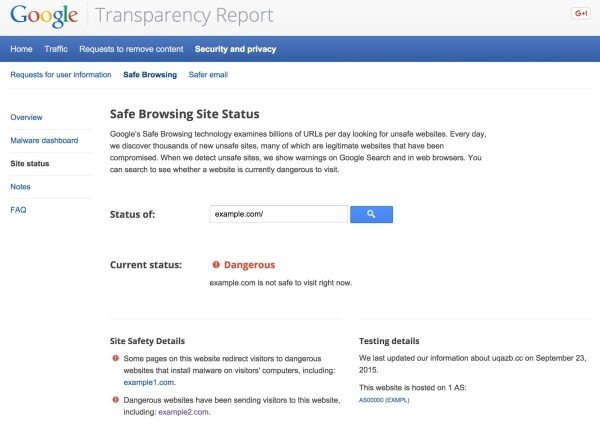 Google Site Status section