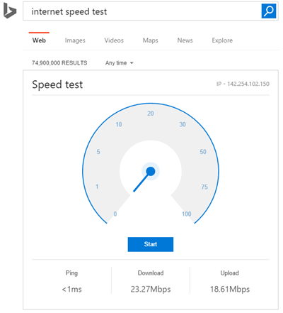 bing internet speed test