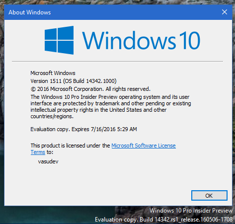 Windows 10 Insider Preview Build 14342