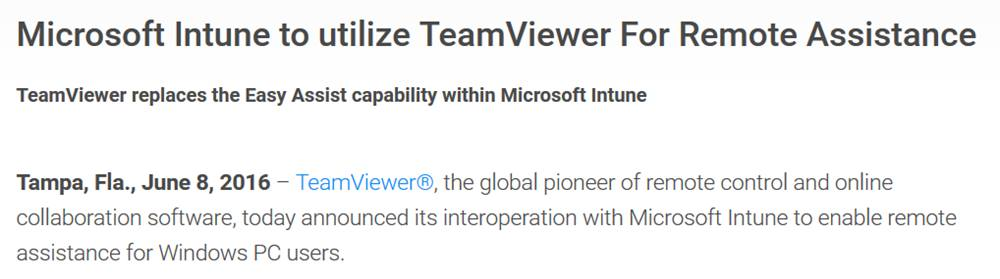 teamviewer replaces Microsoft Intune