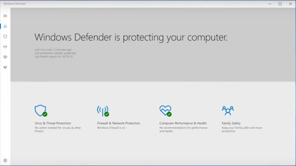 Windows Defender in Windows 10 Creators Update