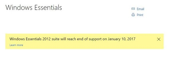 windows essentials end of support
