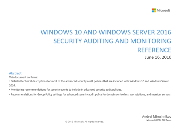Windows 10 & Server 2016 Security Auditing & Monitoring