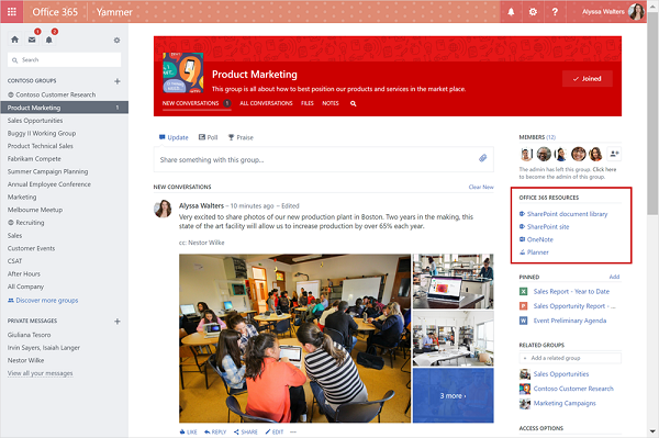 Yammer integration with Office 365 Groups
