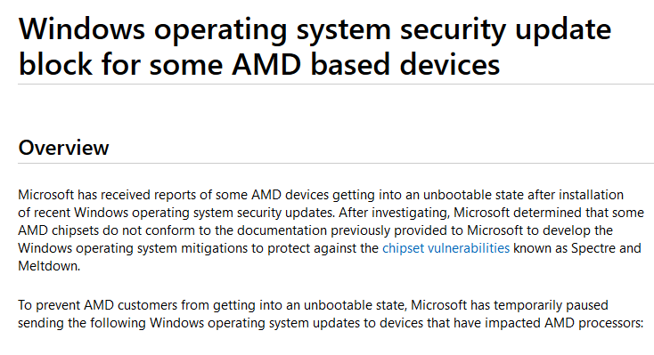 After Crash Reports, Microsoft Stops Updates For AMD PC's