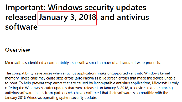 Windows wont Receive Security Update Unless Antivirus Software Is Compatible