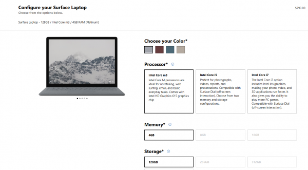 Surface Laptop Core m3 variant
