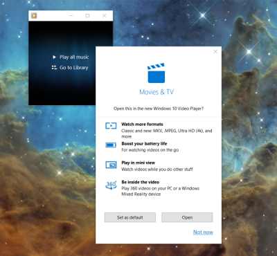 Windows 10 suggests you move away from WMP to the Movies & TV app