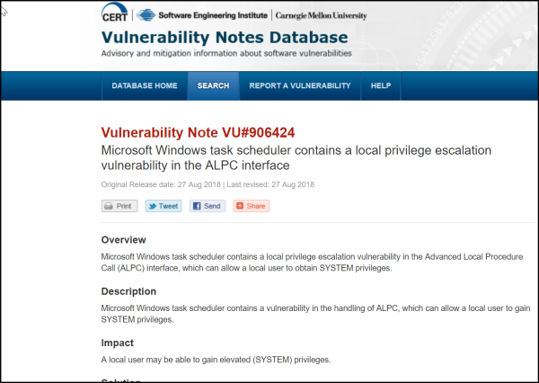 Local privilege escalation vulnerability found in Windows Task Scheduler