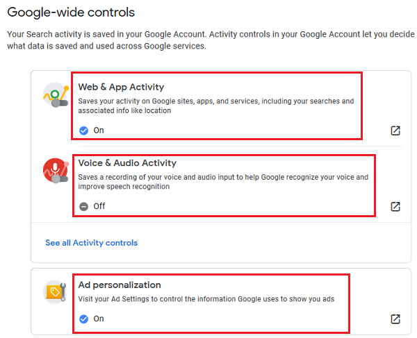 Google wide controls