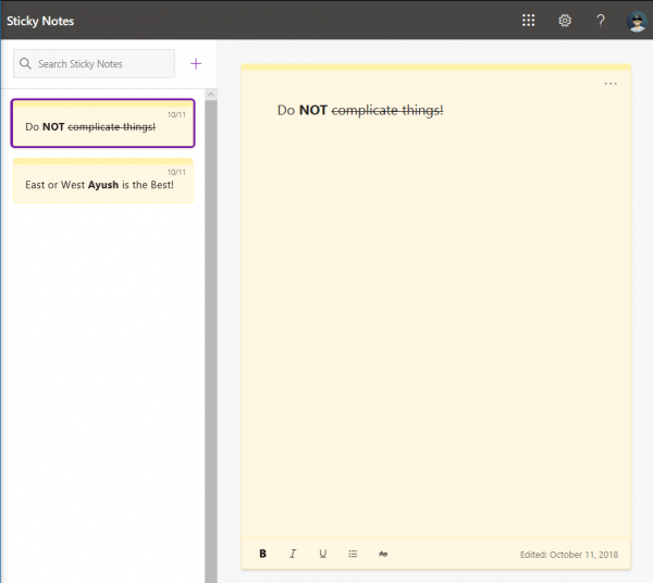 Sticky Notes come to the Web