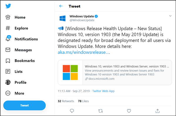 Windows 10 v1903 ready for broader deployment
