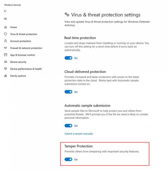 Enable Tamper Protection Windows 10