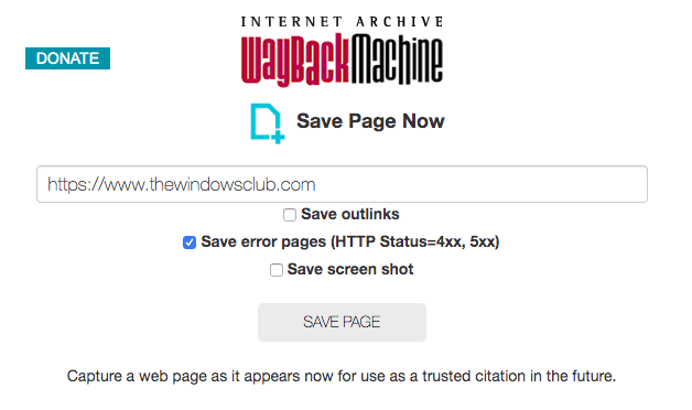 Wayback Machine Save Page Features