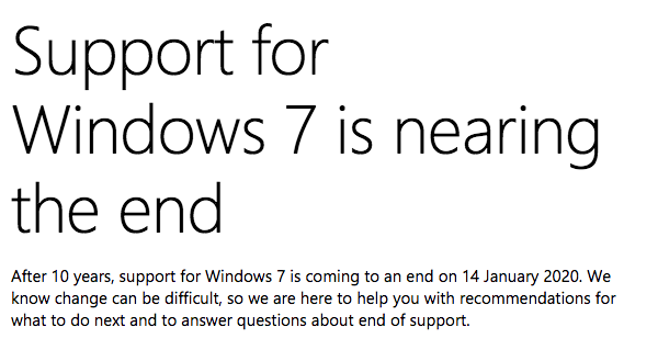 Windows 7 End of Support Notification