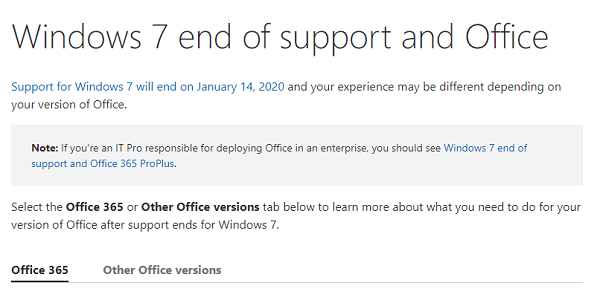How long Microsoft Office will support Windows 7 after End of Support?