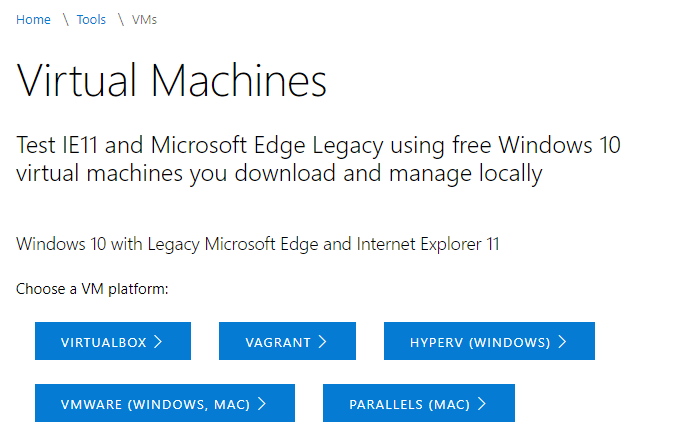 Test IE11 Edge Legacy Windows 10