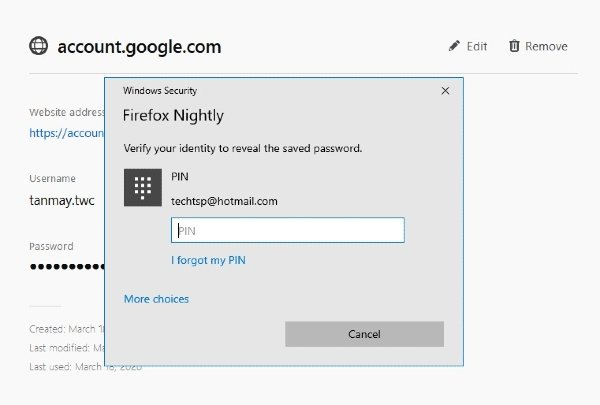 Firefox 76 will make use of Windows Credentials Manager