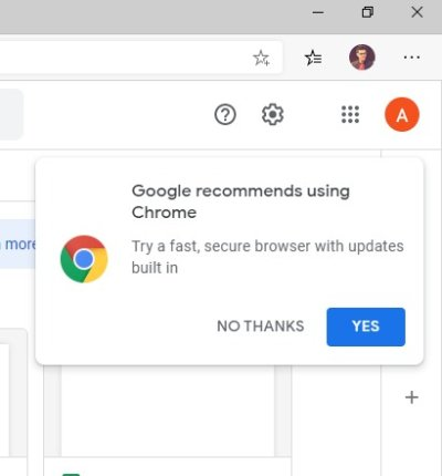 Google continues pushing Edge users to install Chrome
