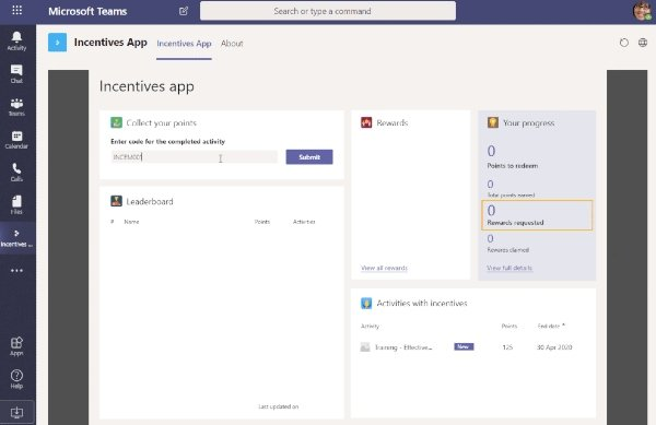 Microsoft Teams Incentives app template