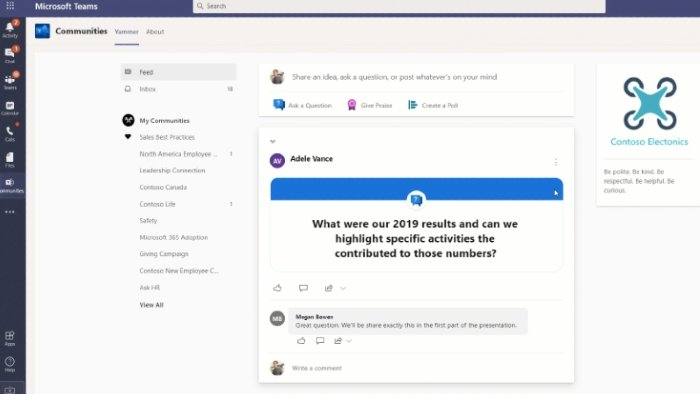 Microsoft Teams Yammer Communities