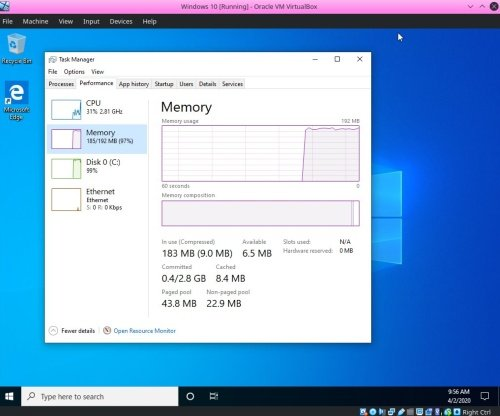 Windows 10 runs with only 192MB RAM