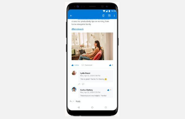 Interactive Yammer Outlook Email