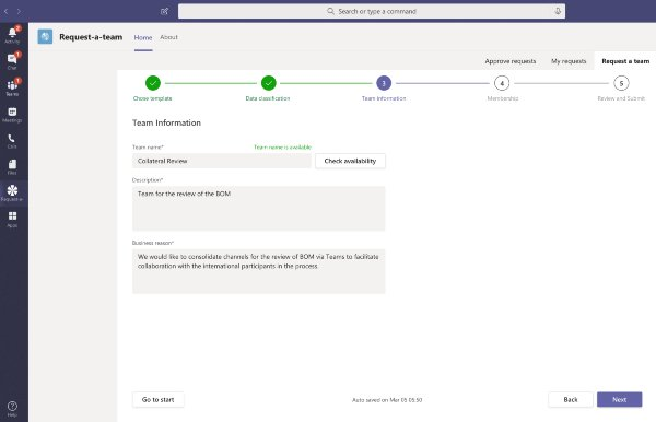 Request-a-Team app template for Microsoft Teams