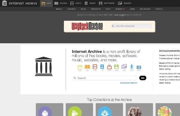 Internet Archive or Wayback Machine