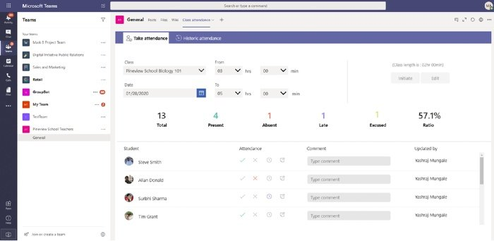Microsoft Teams for Education Attendance