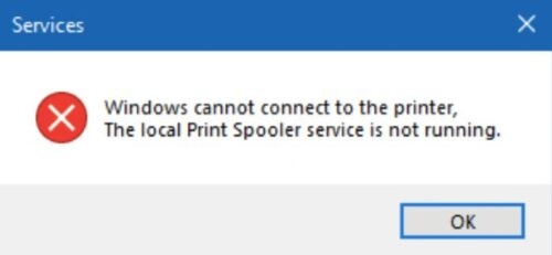Windows 10 2004 Print spooler error