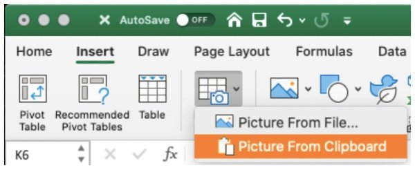 Data from Picture Excel for Mac