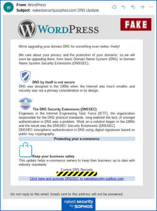 Secure DNS Phishing Campaign WordPress