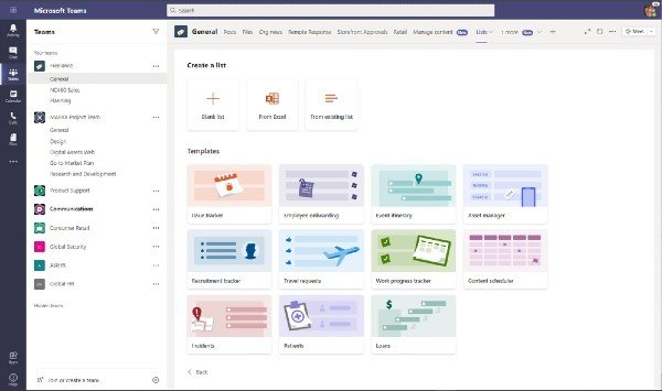 Microsoft Teams Lists