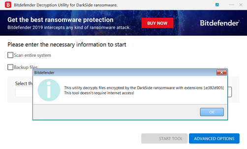 Darkside Ransomware Decryption Tool