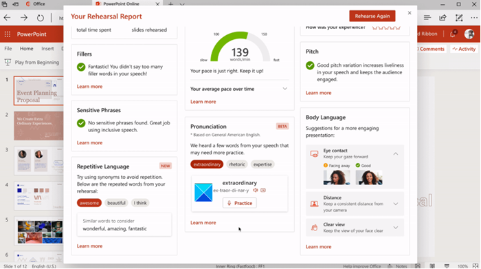 PowerPoint Presenter Coach tool